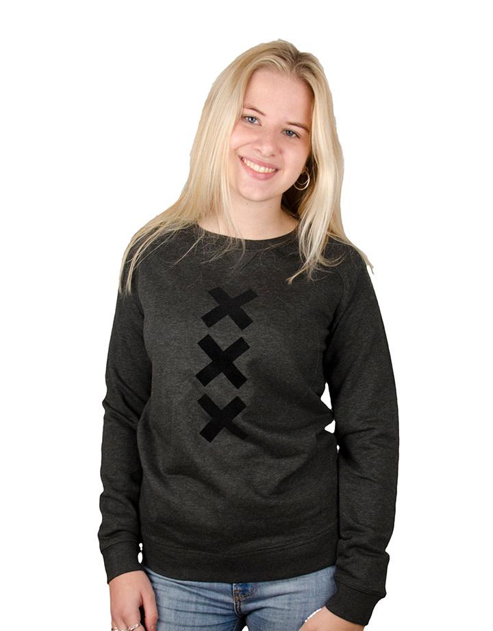 XXX Amsterdam Sweater - Crew Neck - Dark Heather Grey (Black Suede)