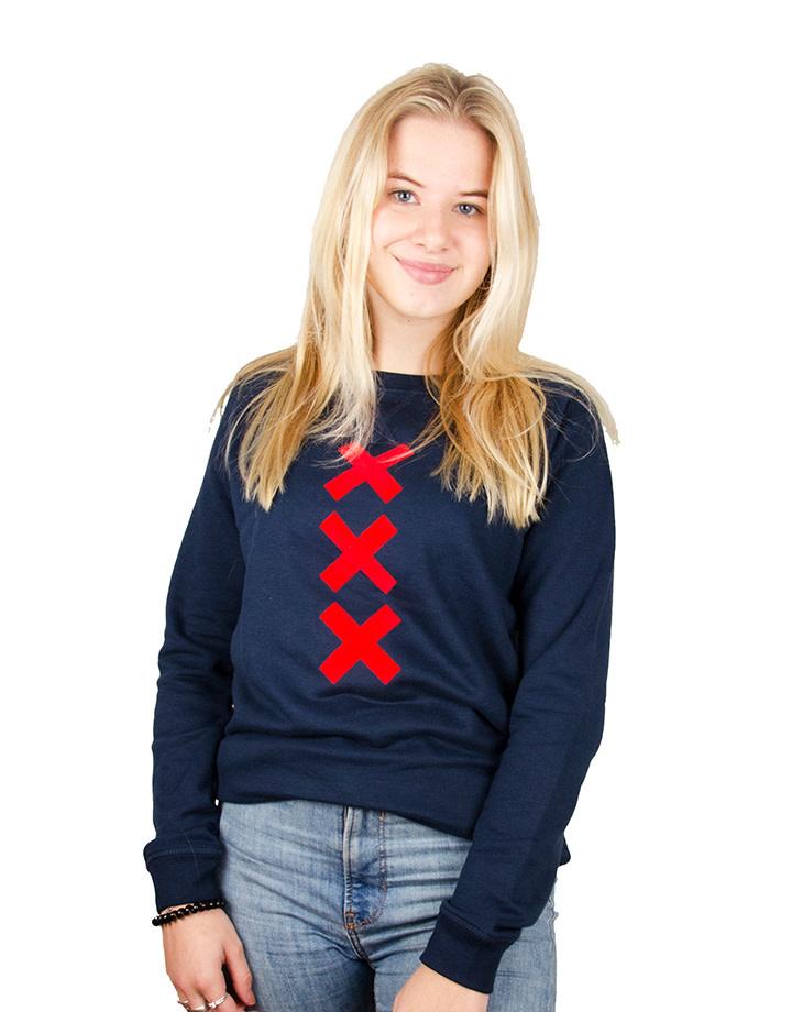 XXX Sweater - Crew Neck - Navy/Red Suede