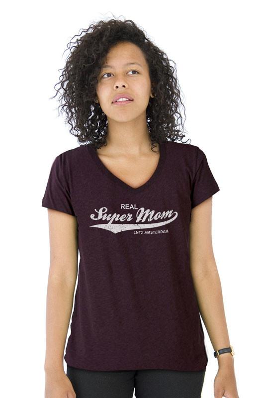 Super Mom T-shirt V-nek