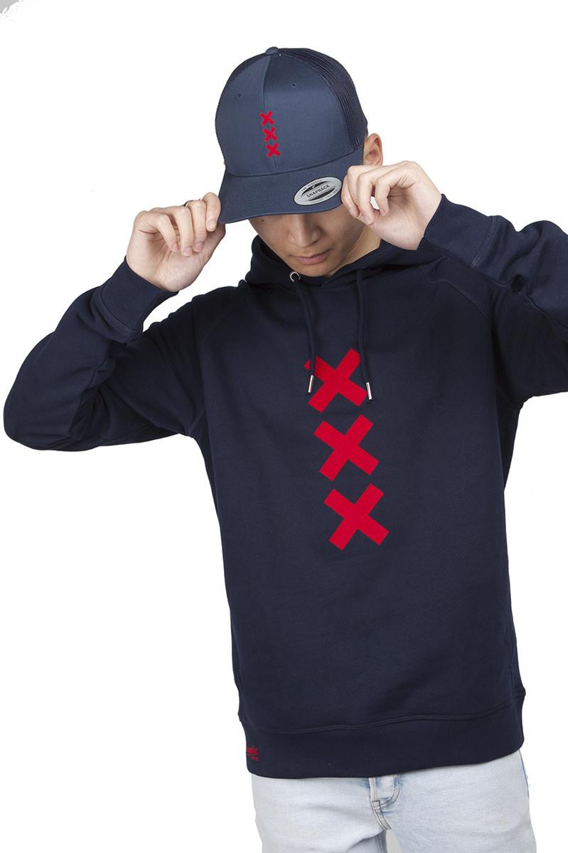 XXX Amsterdam Hoodie - Navy (Red Suede)