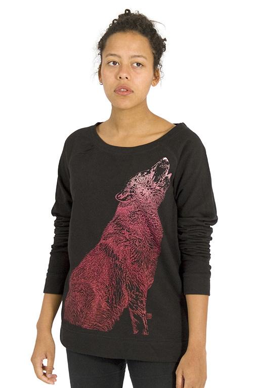 Huilende Wolf Sweater - Wijde Hals