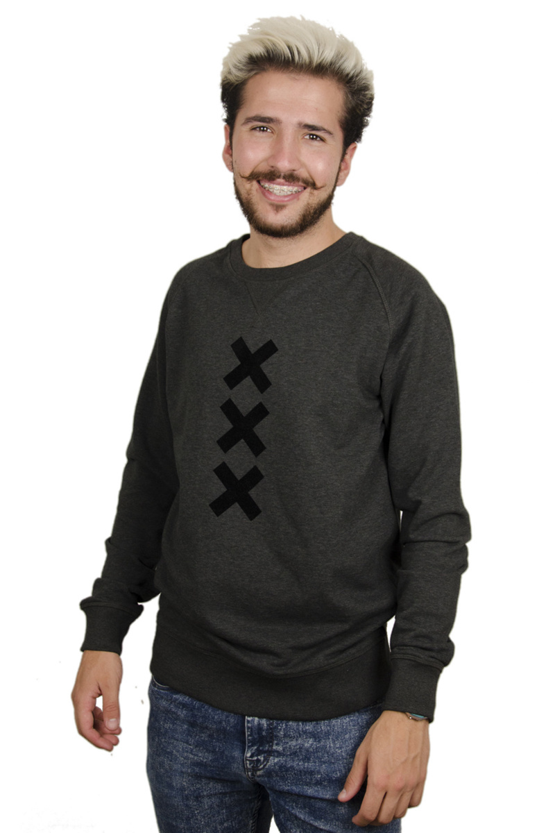 XXX Amsterdam Sweater - Dark Heather Grey (Black Suede)