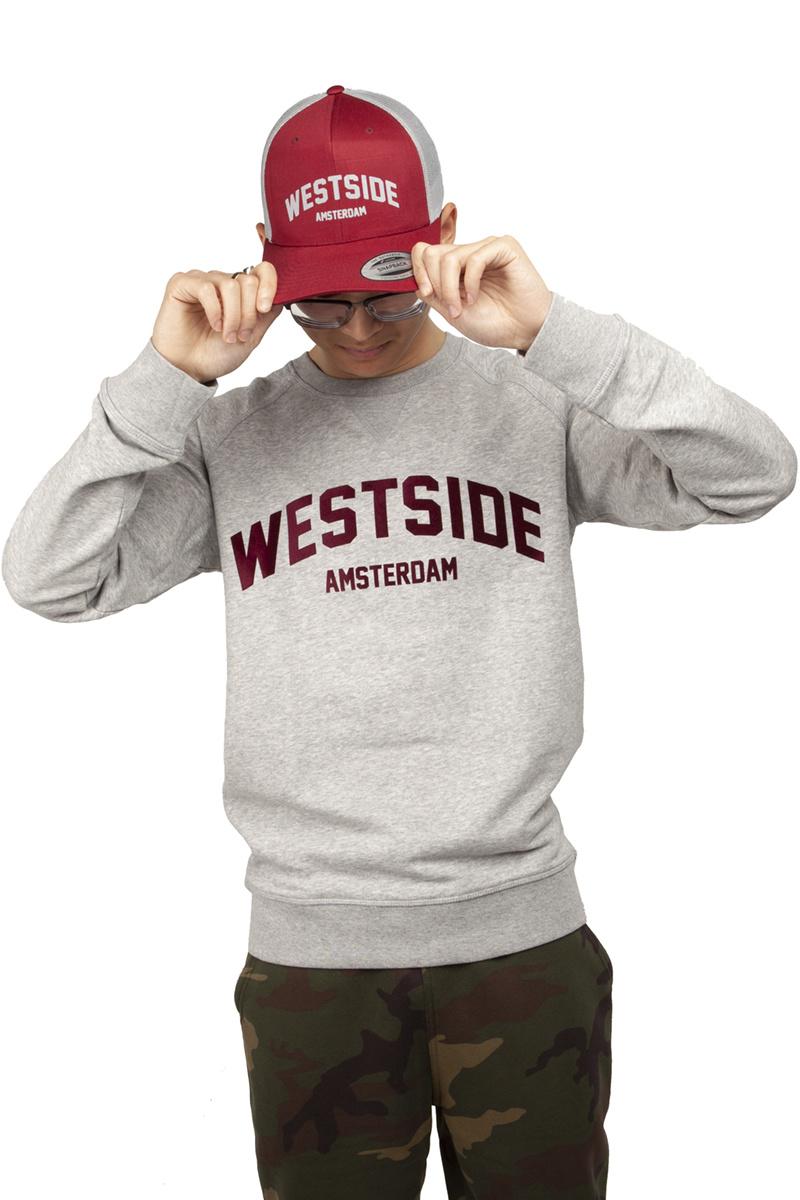 Westside Amsterdam Sweater - Heather Grey (Burgundy Suede)