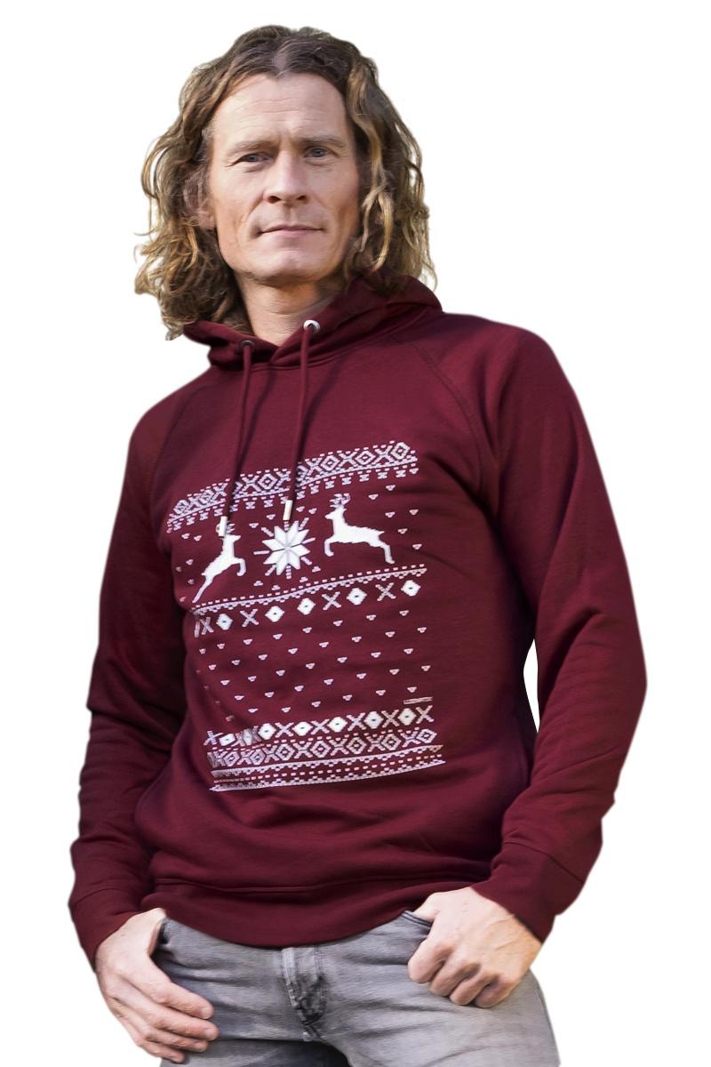 Christmas Reindeer Hooded Sweater - Bordeaux