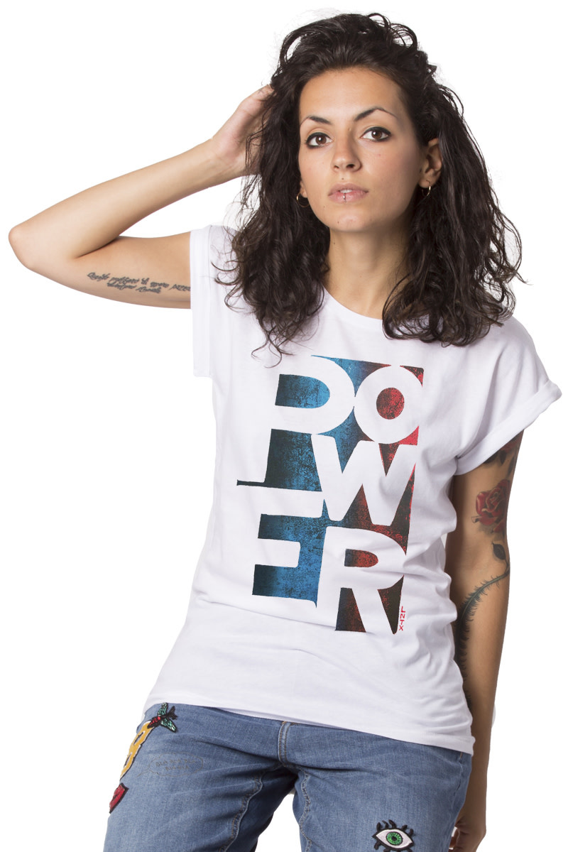 POWER T-shirt - Roll-up - Stone Wash Grey