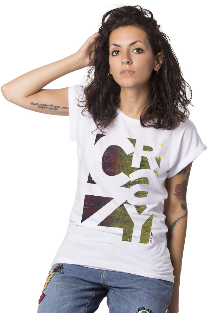 CRAZY T-shirt - Roll-up - White