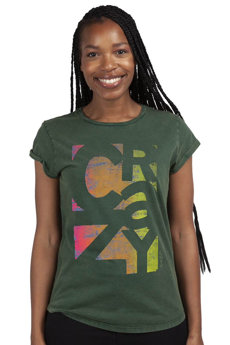 CRAZY T-shirt - Roll-up - Stone wash green