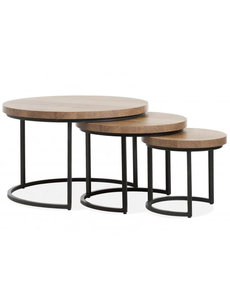 Maxfurn Set van 3 salontafels Hugo met stalen onderstel