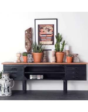 Eleonora Industrieel TV meubel van metaal met houten blad