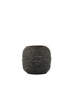 Theelicht Ø10,5x9,5 cm BURACA mat zwart/goud