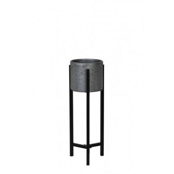 Light & Living Bloempot deco op standaard Ø18x57 cm BAKSI zink-zwart