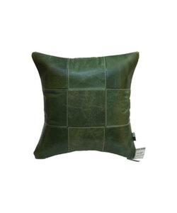 Kussen Leer Patchwork groen 45x45
