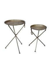 Tower Living Set van 2 bijzettafels Tray Antique Brass