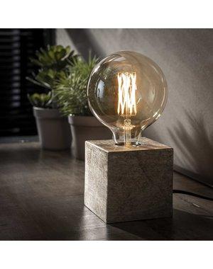 Tafellamp block/Antiek Nikkel