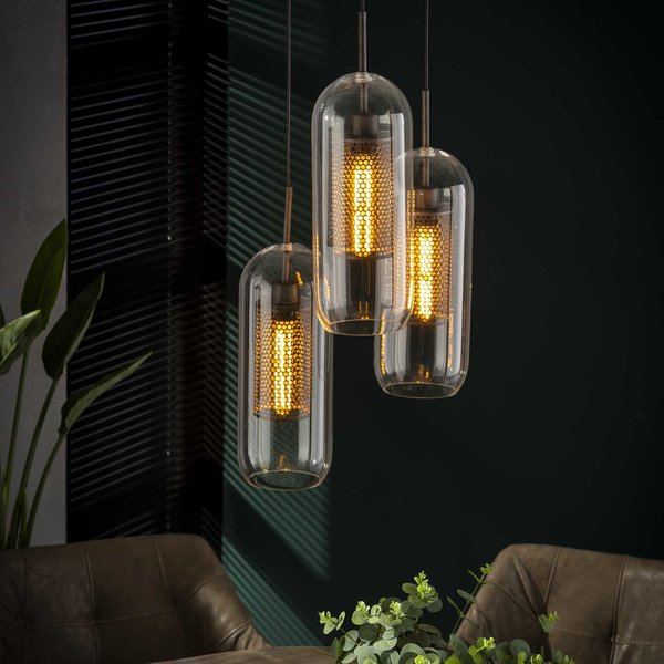 Hanglamp 3x Ø15 getrapt cilinder glas / Oud zilver