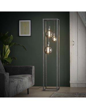 Vloerlamp pilar XL frame vierkante buis / Oud zilver
