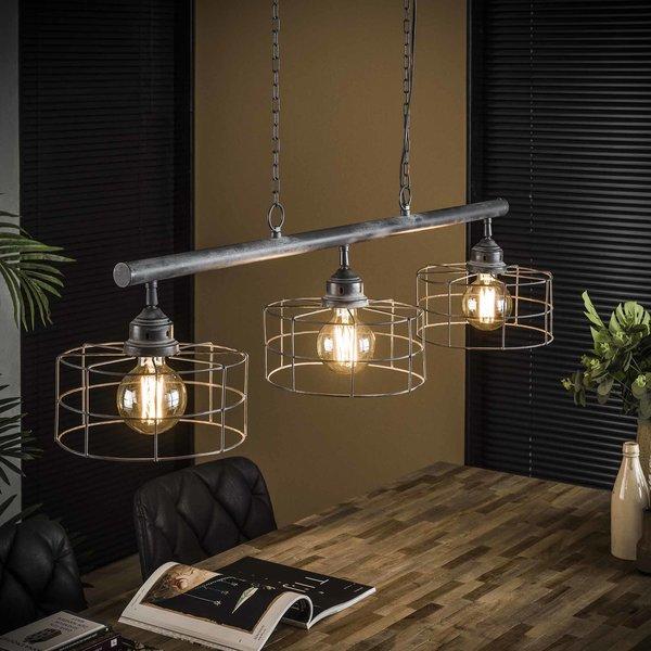 Hanglamp 3xØ25 draadkap / Grijs