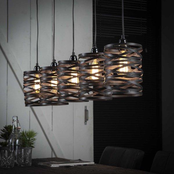 Hanglamp 5x ø17 spindle  slate grey / Slate grey