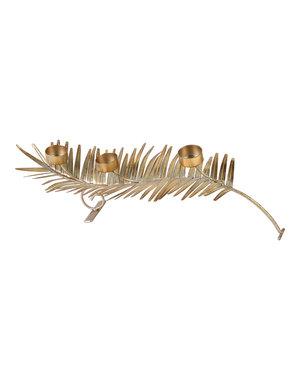 PTMD Theelicht Iron shiny gold tealights on leaf