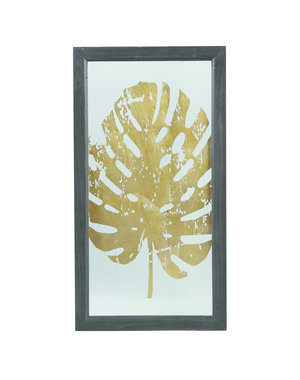 PTMD Wandpaneel - Fenix gold Glass wood box palm print 3