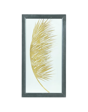 PTMD Wandpaneel - Fenix gold Glass wood box palm print 1