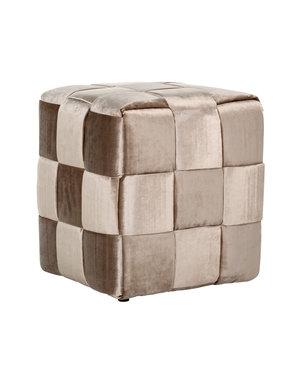 Richmond Interiors Pouffe Woven Cube 45x45 Liver Emerald