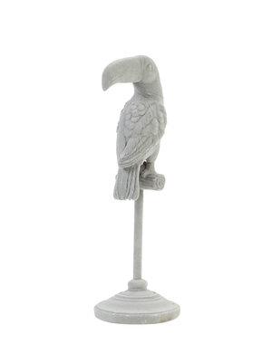 Light & Living Ornament op voet 9,5x9,5x28,5 cm PARROT grijs