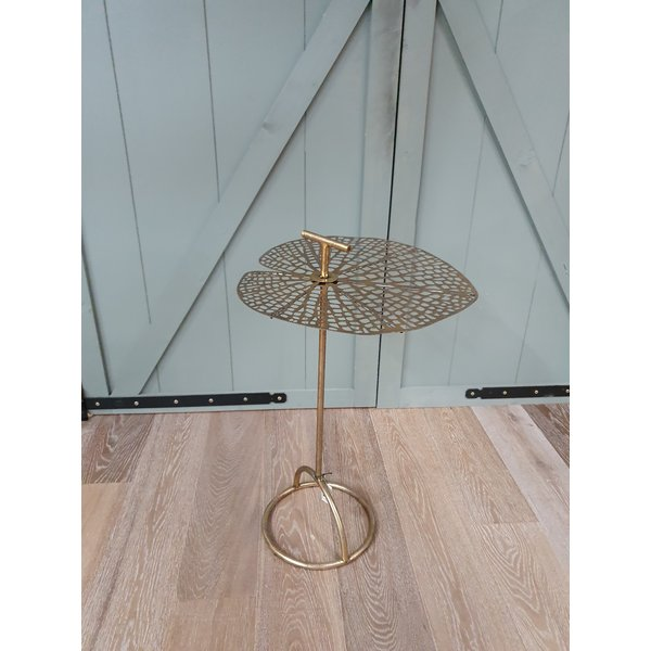 PTMD Bryz gold metal leaf top side table round