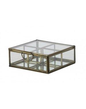 Light & Living Deco box 4 vaks 14x14x5,5 cm ALEXANDRA antiek brons+glas
