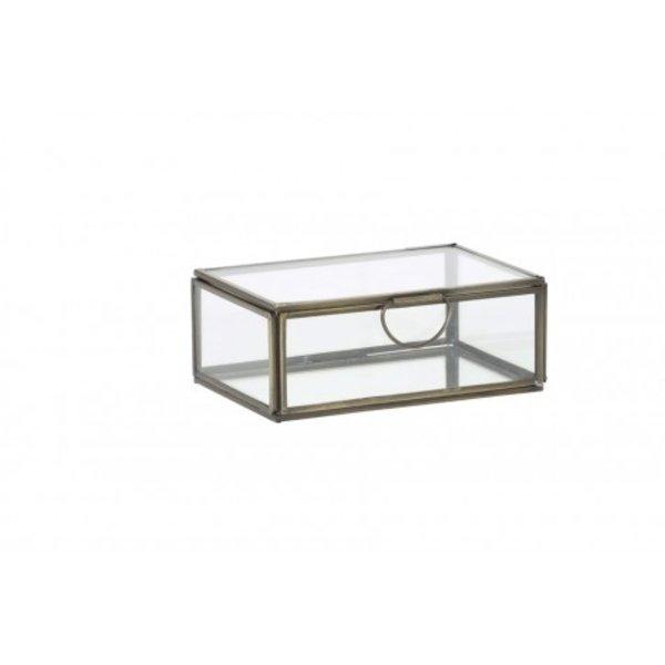 Light & Living Deco box 15,5x10,5x6 cm ALESSINA antiek brons+helder glas
