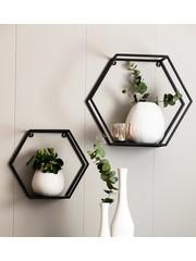 Light & Living Wandrek set van 2 zeshoek zwart