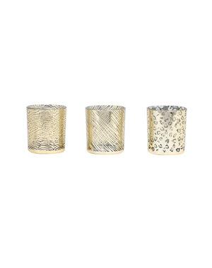 Light & Living Theelicht Set/3 Ø7x8 cm PENZA glas goud-zilver