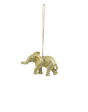 Light & Living Ornament hang  8,5x4x5 cm Olifant goud