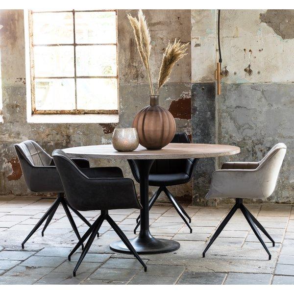Light & Living Eettafel rond Ø 120 cm BIBOCA acacia Grijs-zwart