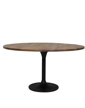 Light & Living Eettafel rond Ø 140 cm BIBOCA acacia Bruin-zwart