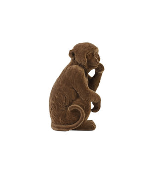 Light & Living Ornament Aap velvet Bruin in 3 maten