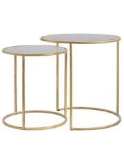 Light & Living Sidetable set van 2 DUARTE Glas Goud – rookglas