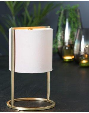 Light & Living Tafellamp SANTOS Antique brass – licht roze klein