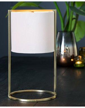 Light & Living Tafellamp SANTOS Antique brass – licht roze groot