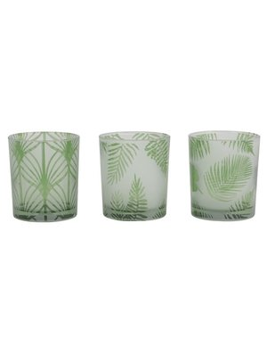 Light & Living Windlicht set van 3 FOLHAS Glas Groen