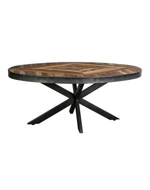 PTMD Danyon ovale coffeetable inlayed wood grey Iron