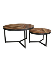 PTMD Danyon round coffeetable s/2 inlayed wood grey iron
