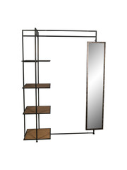 PTMD Abbi Iron coat rack with mirror and wooden Shelve