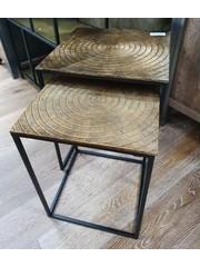 Tower Living Set van 2 metalen bijzetafel vierkant met aluminium blad