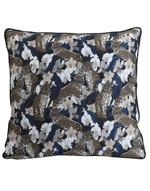 Light & Living Kussen 45 x 45 cm TIGRIS donkerblauw met tijger