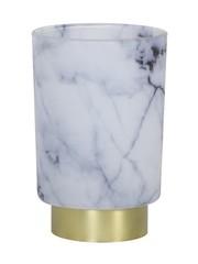 Light & Living Tafellamp LED Marmer Glas Wit – grijs klein