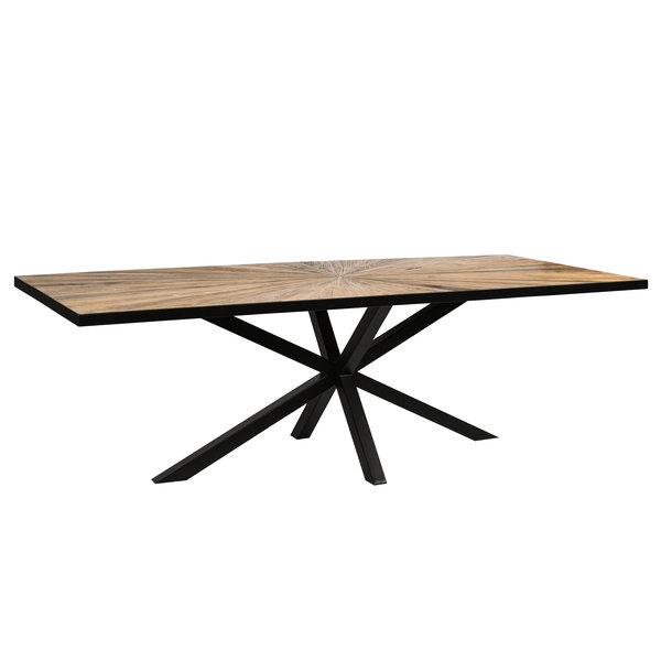 PTMD Eettafel Cleme rectangle Elm bruin - zwart staal