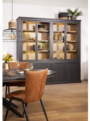 Maxfurn Jumbo vitrinekast 4 deurs glas Lamulux Old Piano/teak