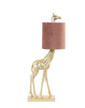 Light & Living Tafellamp 26x16x61 cm GIRAFFE goud+velvet roze