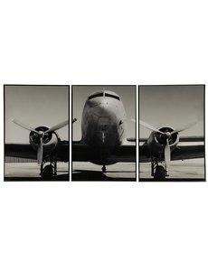 Countryfield Schilderij vliegtuig 3-luik